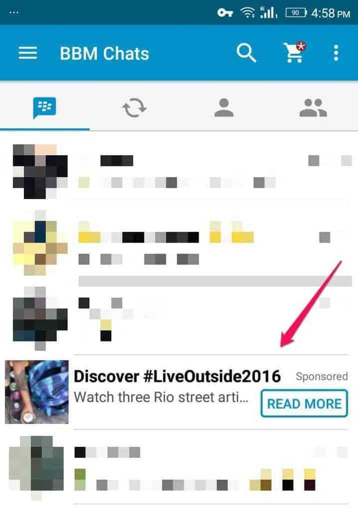 in content ads for bbm
