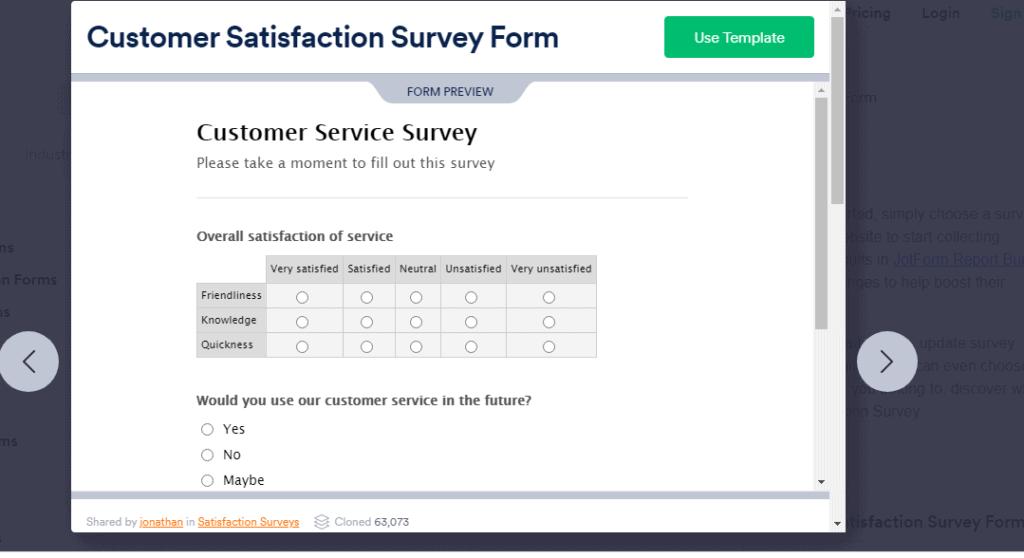Customer satisfaction survey form sample