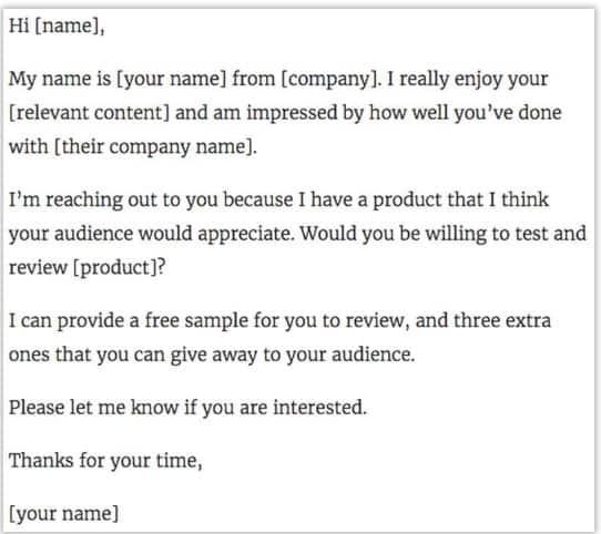 Sample email for influencer partnership