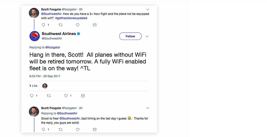 Southwest airlines social media communication