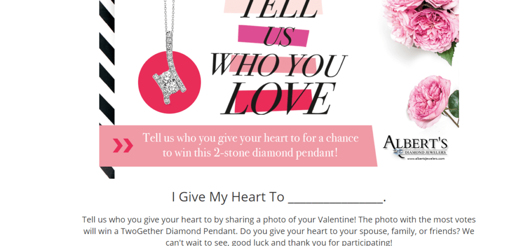 Albert's valentine contest for building email list