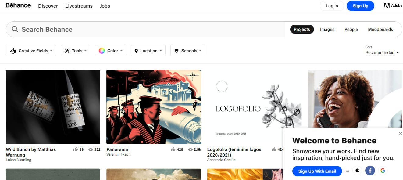 behance site used by graphics designer to display graphics digital product