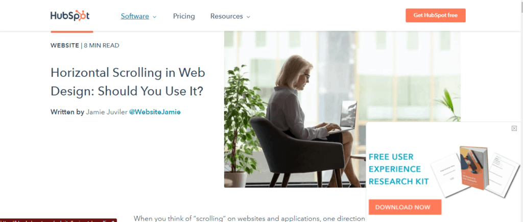 Hubspot's free toolkit to subscribers for building email list