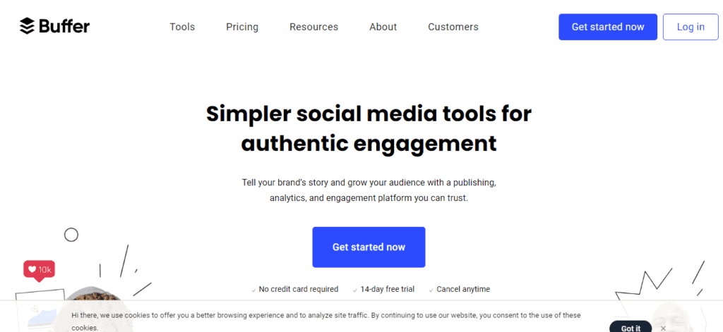 buffer, social media marketing tool for generating leads for small business