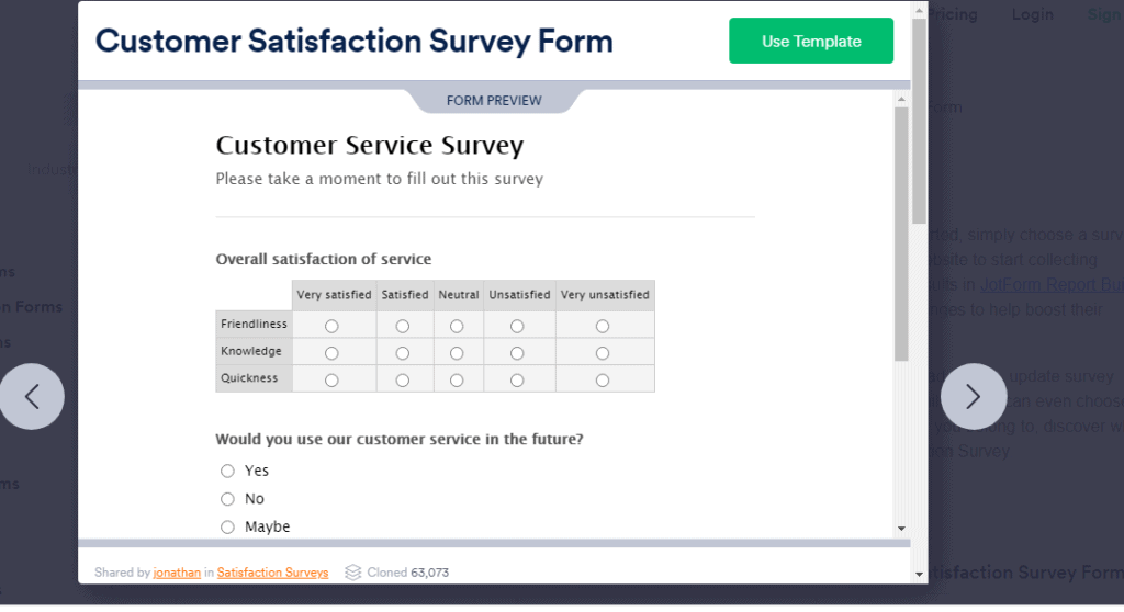 Customer satisfaction survey form sample for gathering reviews