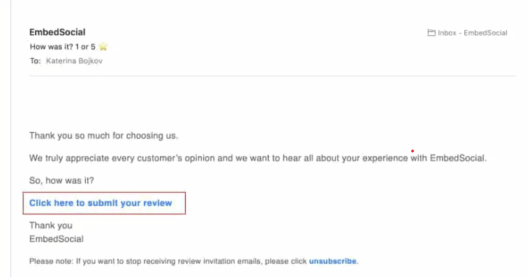 email review sample for generating online reviews
