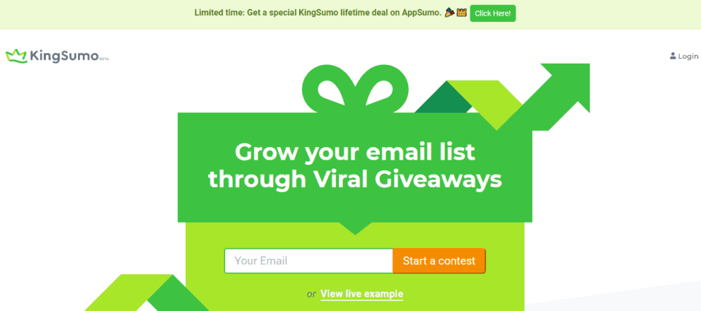 Giveaway platform for building email subscribers list