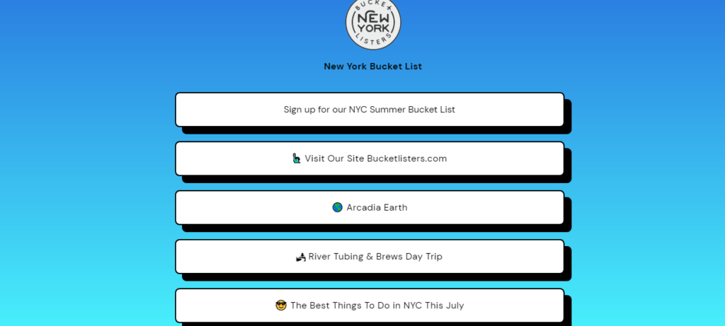 New york bucket list linktree link for building email list