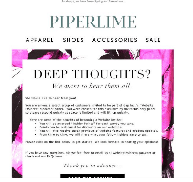 piperlime incentive email for customer survey for generating online reviews