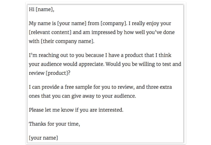 sample email to influencer for effective positive online reviews generation