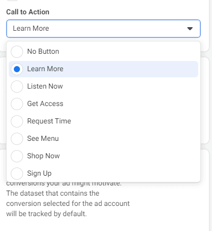call to action for building email list with Facebook ads