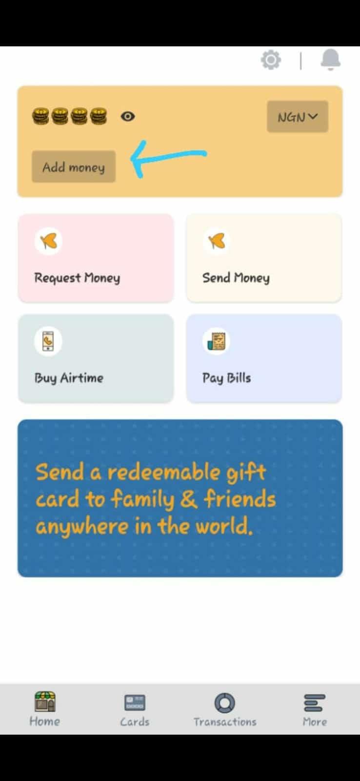 add money tab for barter virtual dollar card