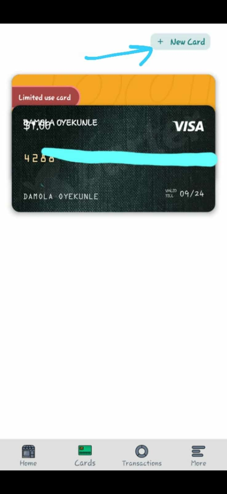 new card creation for a barter virtual dollar card