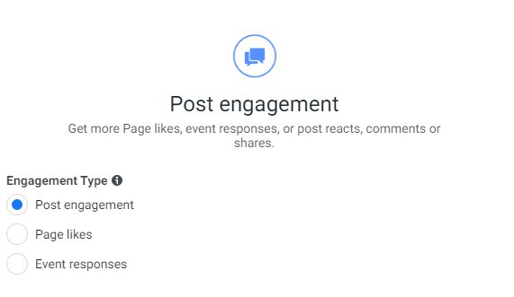 post engagement objective for running Facebook ads