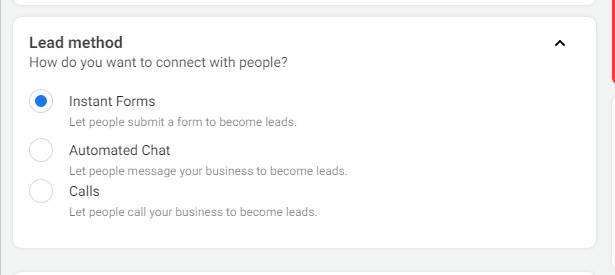lead generation campaign objective for running Facebook ads