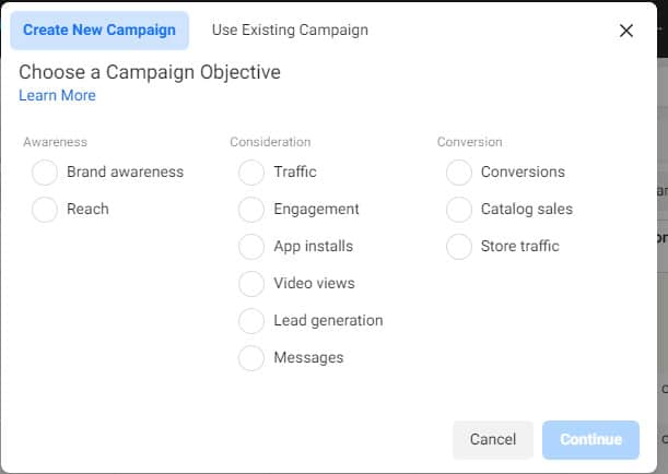 campaign objective for running Facebook ads