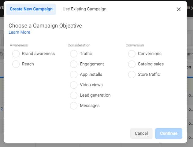 campaign objective for Facebook retargeting ads