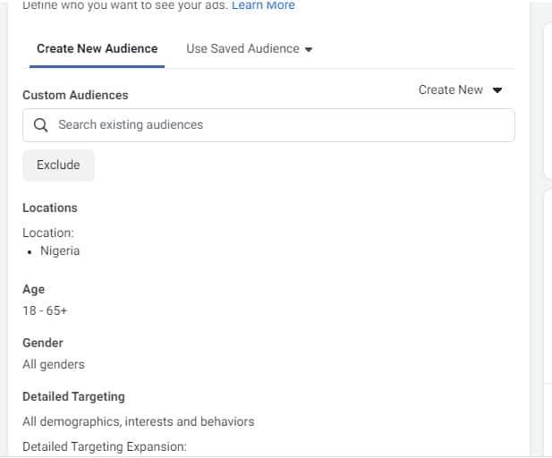 custom audience for Facebook retargeting ads