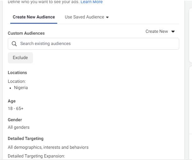 target audience for building email list with Facebook ads