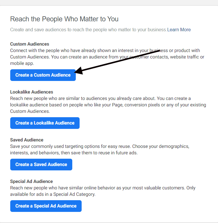 how to create custom audience for Facebook retargeting ads