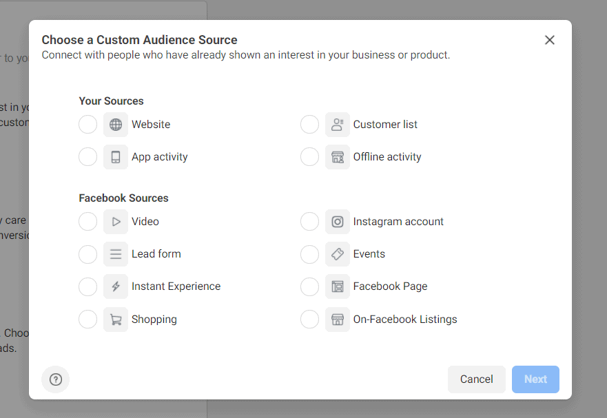 custom audience source for retargeting ads on Facebook