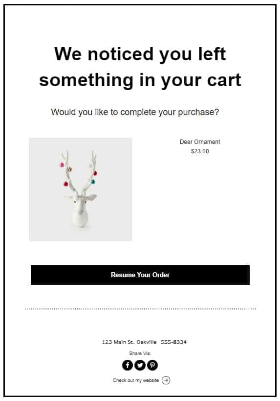 abandoned email sample for ecommerce automation purposes
